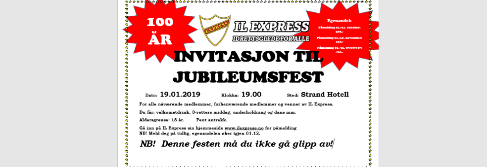 Jubileumsfest, Express i 100!