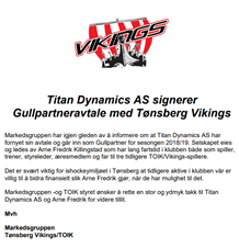 Gullpartneravtale med Titan Dynamics AS