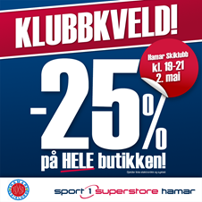Sport1 Superstore Hamar arrangerer klubbkveld for Hamar Skiklubb to. 2.mai.