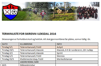 Terminliste for Skirenn i Leksdal 2016