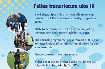 Bli med på felles trenerforum 19. april
