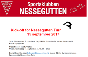 Kick off for turnsesongen fredag 15.!