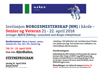 Klart for NM for senior og veteran i Njårdhalllen 21 - 22. april 2018 -